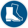 Durable Safety Signs Use Foot Protection Blue