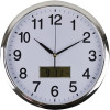 Italplast Wall Clock Inset LCD Date Month 36cm Round Chrome Frame White Face