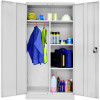 Go Steel Wardrobe Cupboard Includes Shelves and Hanging Section Silver Grey