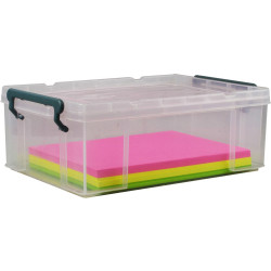 Italplast 10 Litre Stacka Plastic Storage Box With Secure Lid Clear
