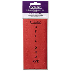 Crystalfile Indicator Tab Inserts A-Z Red Pack Of 60