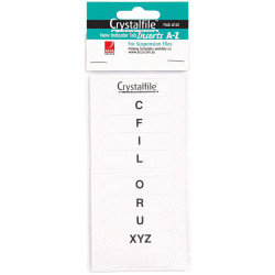 Crystalfile Indicator Tab Inserts A-Z White Pack Of 60
